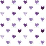 Illustrerad sömlös modell med purpurfärgade hjärtor på en vit backg Royaltyfri Foto