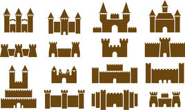 illustrerad uppsättning av slottar Royaltyfri Fotografi