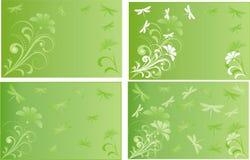 Illustrerad vykort med blommor och sländor Royaltyfria Foton