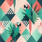 Illustrerade den moderiktiga sömlösa modellen för den exotiska stranden, patchwork blom- tropiska sidor Röda och gröna papegojor  royaltyfri illustrationer