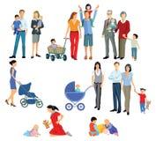 Illustrerade familjer Royaltyfri Bild