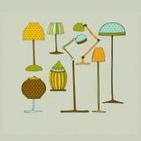 Illustrerade lampor royaltyfri illustrationer