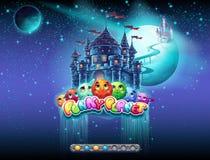Illustrerar ett exempel av päfyllningsskärmen för en dataspel på ämnet av gladlynta utrymme och planeter Det finns en kängastång  Royaltyfria Foton
