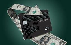Illustreras tillbaka kreditkortbelöningar för kassa här med en kretsa pil som göras av dollarräkningar som slår in runt om en kas royaltyfri illustrationer