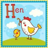 Illustrerat alfabetbokstavsH och höna. Royaltyfri Bild