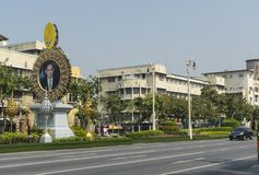 A road in Bangkok. Illustrious figures depicted in pictures on the streets of Bangkok, Thailand Royalty Free Stock Images