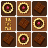 IllustTic-Tac-Toe of chocolate bar and tart Royalty Free Stock Image