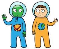 Астронавт и чужеземец Стоковая Фотография