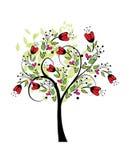 Illutration coloreado extracto del vector del árbol de la primavera libre illustration