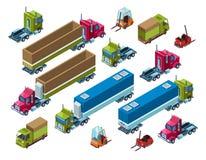 Illutration isométrique de vecteur de transport de fret de cargaison illustration libre de droits