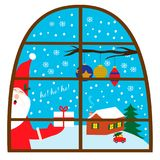 Illutration with Santa Claus with gift in a window. EPS 10 Royalty Free Stock Photography