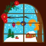 Illutration with winter season in a window. EPS 10 Stock Image