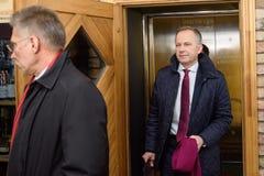 Ilmars Rimsevics, gubernator Środkowy bank Latvia przyjeżdża konferencja prasowa obraz royalty free