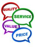 Ilości usługa wartości cena ilustracja wektor