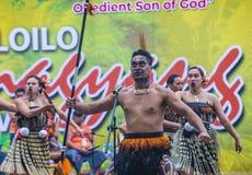 2018 Dinagyang Festival. ILOILO , PHILIPPINES - JAN 28 : Maori dancers in the Dinagyang Festival in Iloilo Philippines on January 28 2018. The Dinagyang is Royalty Free Stock Photos