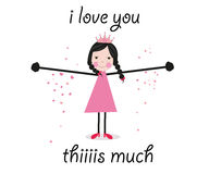 Iloveyou this much, greeting card vector Stock Image