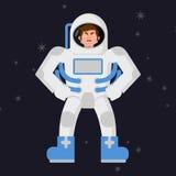 Ilsken astronaut Missnöjd kosmonaut Aggressiv man i utrymme royaltyfri illustrationer