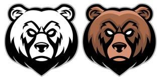 Ilsken björnhuvudmaskot Royaltyfri Fotografi