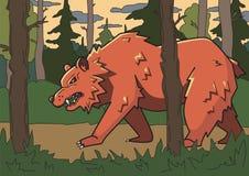 Ilsken brunbjörn som går till och med skoglinjen vektorillustration Kulör tecknad filmstil horisontal stock illustrationer