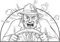 Ilsken chaufför i tokig vägursinne Arkivfoton