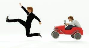 Ilsken chaufför och gångare stock illustrationer