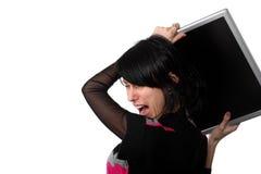 ilsken dator hans kast till kvinnan arkivfoto