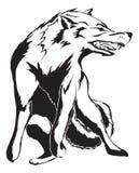 ilsken designtatueringwolf vektor illustrationer