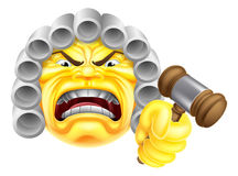 Ilsken domare Emoji Emoticon Arkivfoto