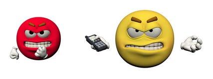 Ilsken Emoticon och telefon - 3d framför stock illustrationer