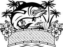 Ilsken fisk med tropisk bakgrund royaltyfri illustrationer