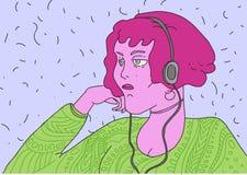 Ilsken flicka med rosa hår och hörlurar Royaltyfria Foton