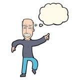 ilsken gamal man för tecknad film med tankebubblan Royaltyfri Foto