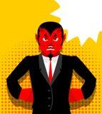 ilsken jäkel Satan är inte lycklig Ilsken röd demon royaltyfri illustrationer