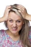 ilsken kantjusterad frustrerad bildkvinna Arkivbild
