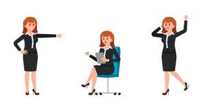 Ilsken kvinna i svart affärsdräkt som ropar på smartphonen som pekar fingret Förvånat kvinnasammanträde på stol- och handstilanmä royaltyfri illustrationer