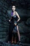 Ilsken kvinna med hunddobermanen royaltyfri fotografi
