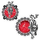Ilsken lös illustration för lejonfäemblem Arkivbild