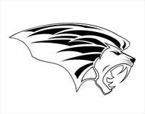 Ilsken Lion Head maskot i svartvitt royaltyfri illustrationer