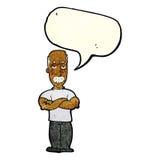 ilsken man för tecknad film med mustaschen med anförandebubblan Royaltyfria Foton