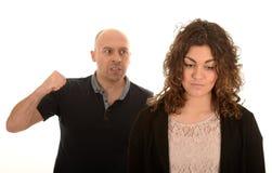 Ilsken man och kvinna Arkivbild