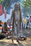 Ilsken Naga Sadhu eller Nacked munk Arkivbilder
