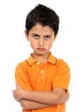 ilsken pojke mycket Arkivbild