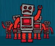 Ilsken robotfolkhop Arkivfoto