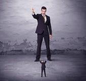 Ilsken stor chef som ser små och medelstora företagmannen Royaltyfri Foto