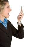ilsken telefonkvinna arkivbilder