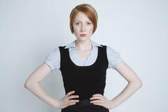 Ilsken ung affärskvinna Isolated Over White Arkivfoton