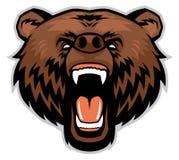 Ilsket brunbjörnhuvud stock illustrationer