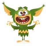 Ilsket grönt monster för tecknad film Halloween vektorillustration vektor illustrationer