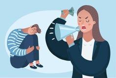 Ilsket kvinnaframstickandetecken som skriker på arbetaren för anställdmankontor Plan tecknad filmillustration för vektor Arkivbilder