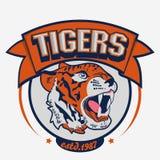 Ilsket Tiger Sport lagemblem vektor illustrationer